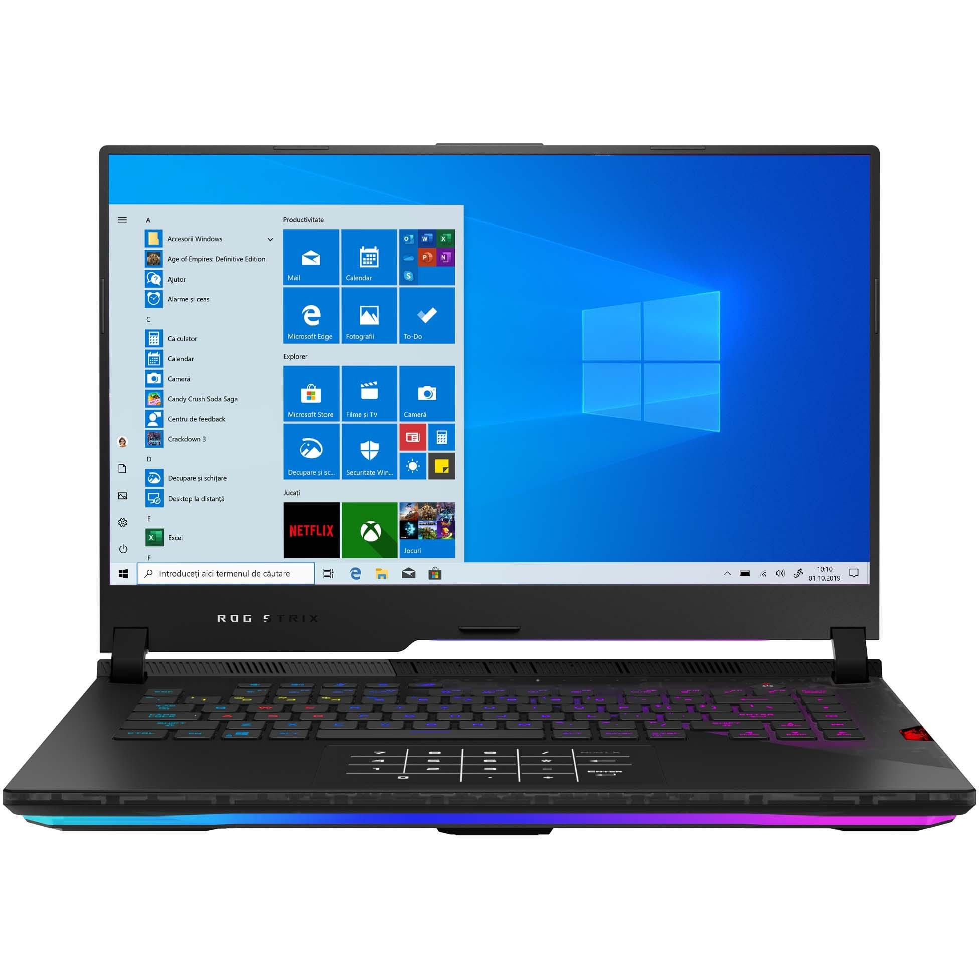 "Fotografie Laptop Gaming ASUS ROG Strix SCAR 15 G533QS cu procesor AMD Ryzen™ 7 5800H pana la 4.40 GHz, 15.6"", Full HD, 300Hz, 16GB, 1TB SSD, NVIDIA® GeForce RTX™ 3080 16GB, Windows 10 Home, Black"