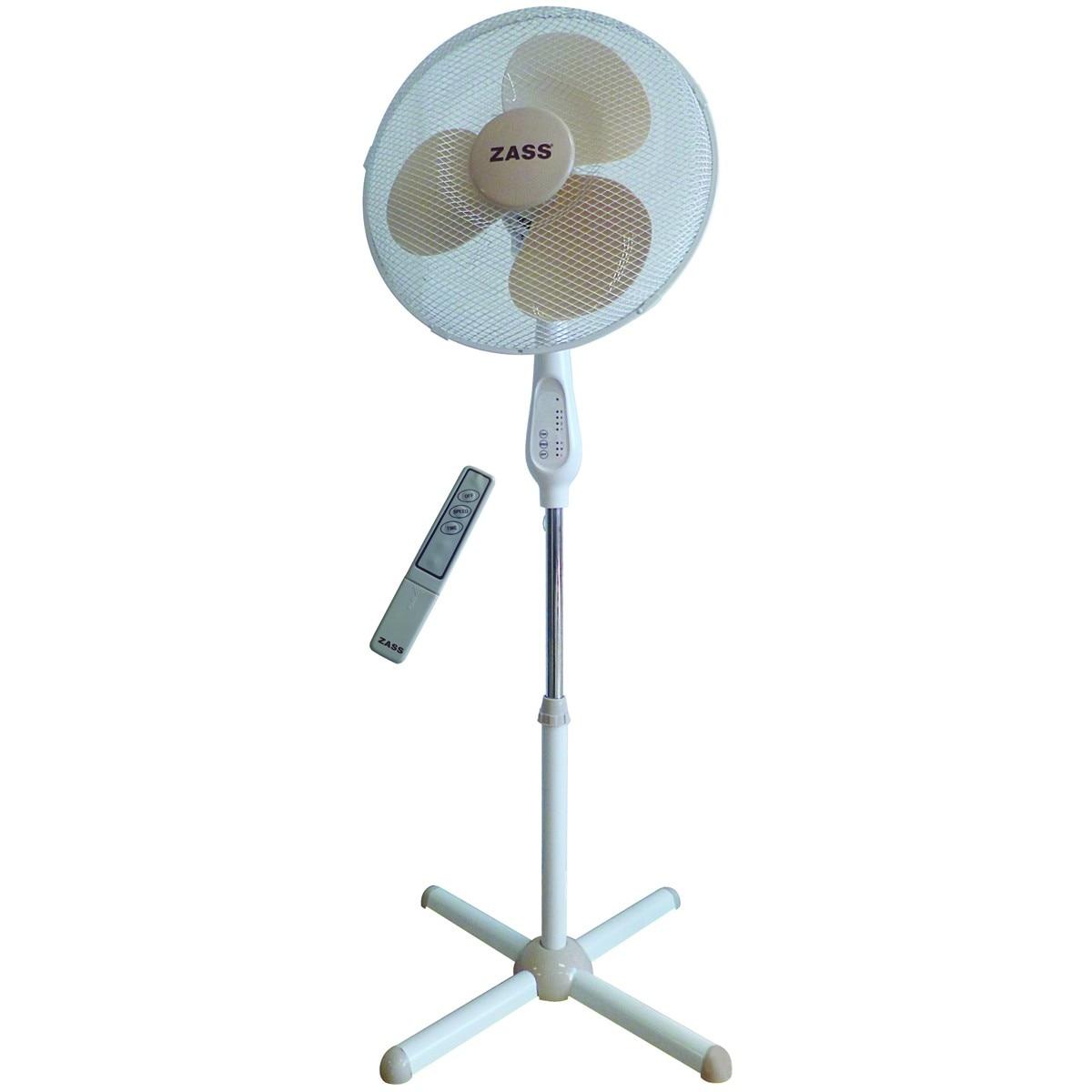 Fotografie Ventilator cu picior Zass ZFTR 1603, 50 W, 3 viteze, 41cm diametru, oscilare, telecomanda, Alb