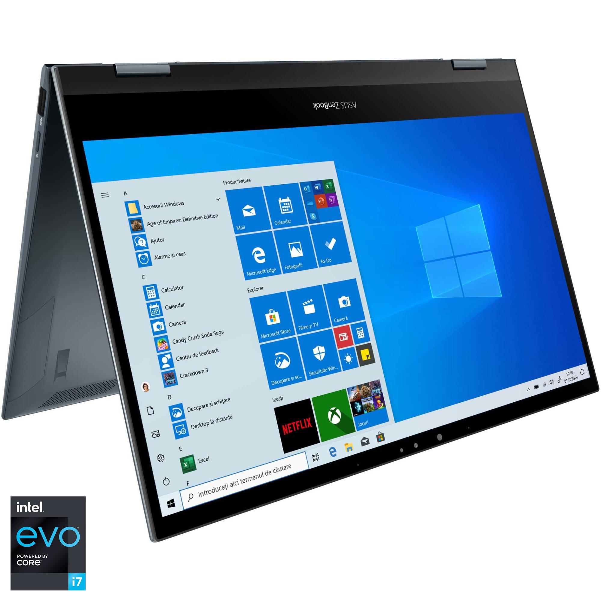 "Fotografie Laptop 2 in 1 ASUS ZenBook Flip 13 OLED UX363EA cu procesor Intel® Core™ i7-1165G7 pana la 4.70 GHz, 13.3"", Full HD, 16GB, 1TB SSD, Intel® Iris Xe Graphics, Windows 10 Pro, Pine Grey"