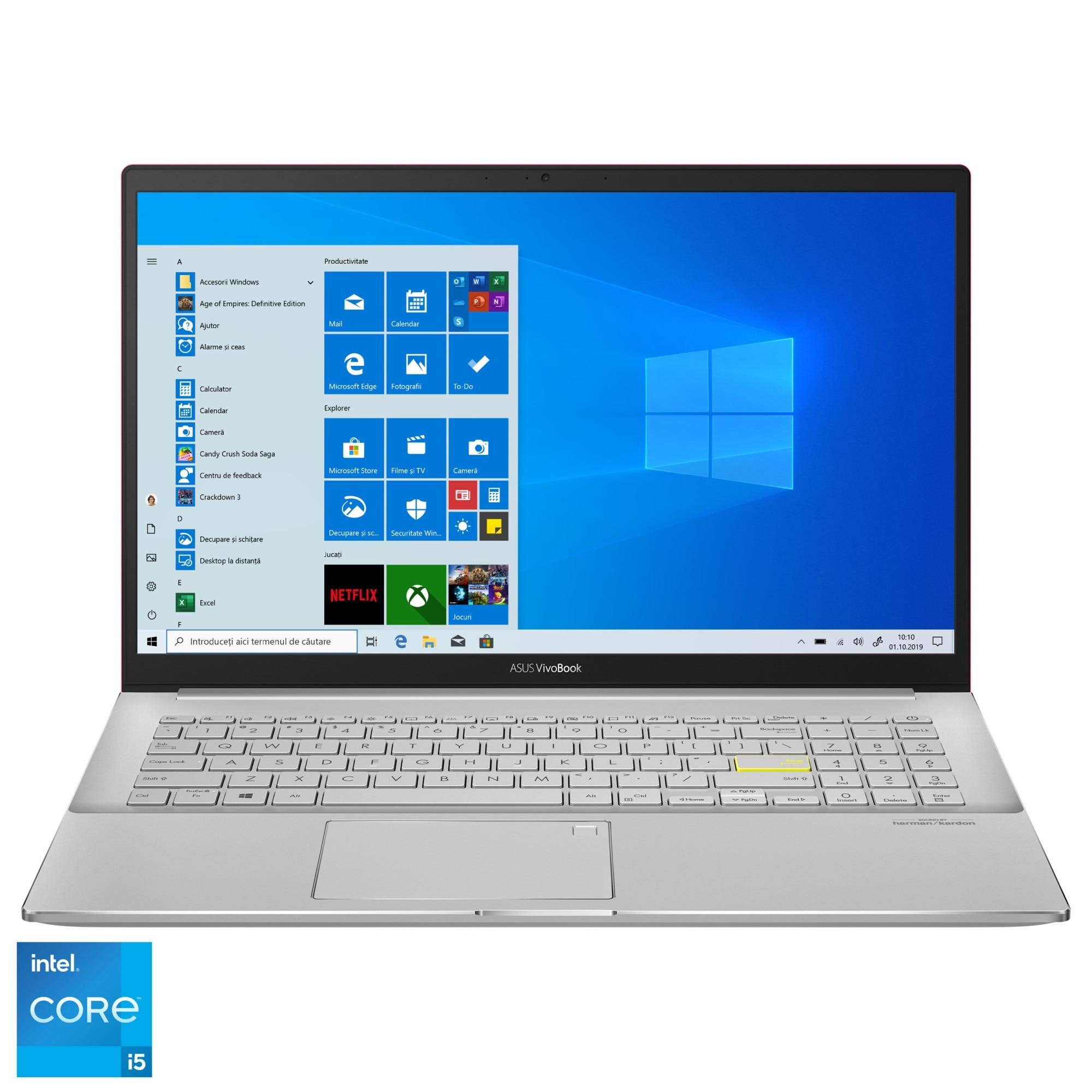 "Fotografie Laptop ASUS VivoBook S15 S533EA cu procesor Intel® Core™ i5-1135G7 pana la 4.20 GHz, 15.6"", Full HD, 8GB, 512GB SSD, Intel Iris Xᵉ Graphics, Windows 10 Home, Resolute Red"