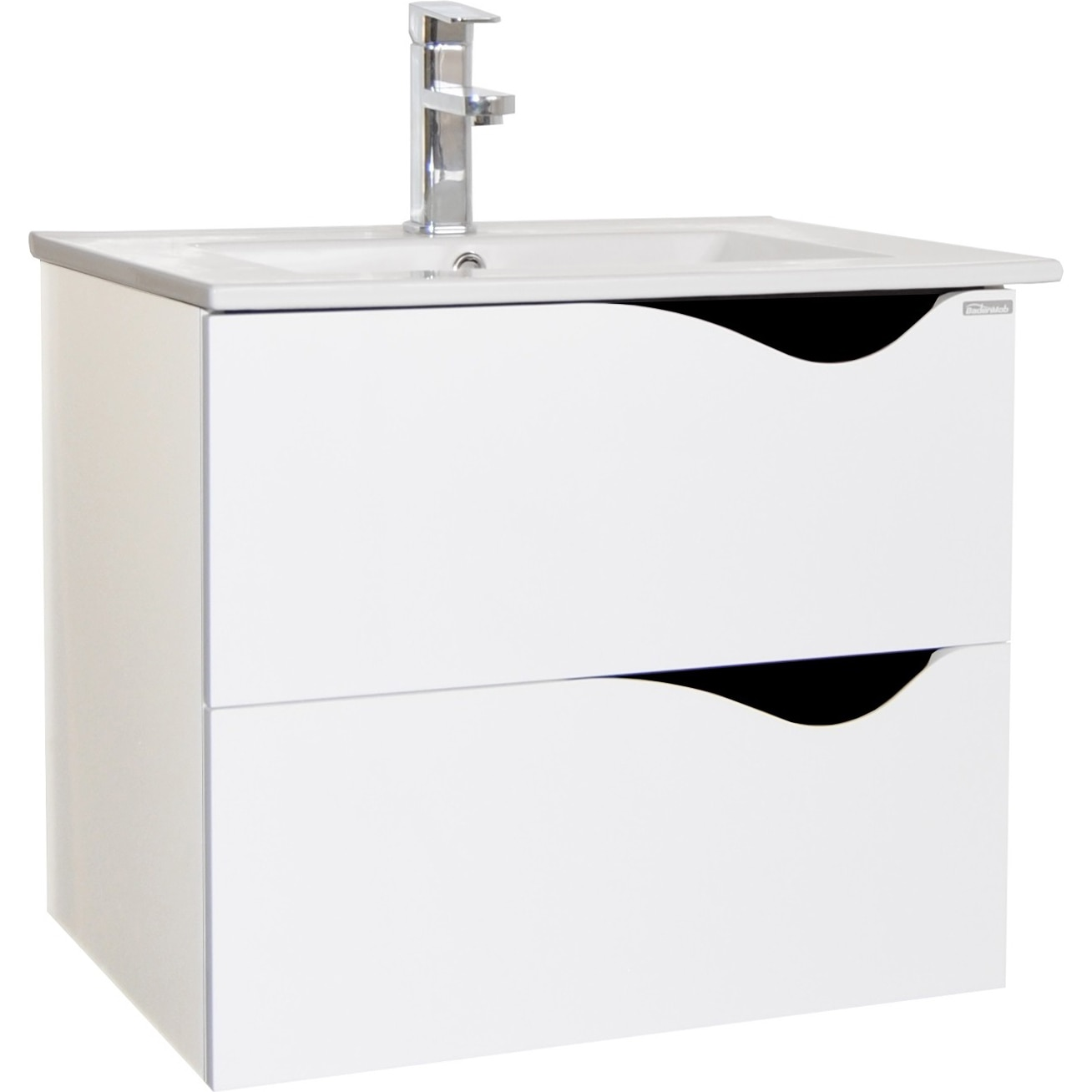 Fotografie Set baza mobilier suspendat + lavoar ceramic Badenmob Seria 097, cu sertare, 60 cm, Alb