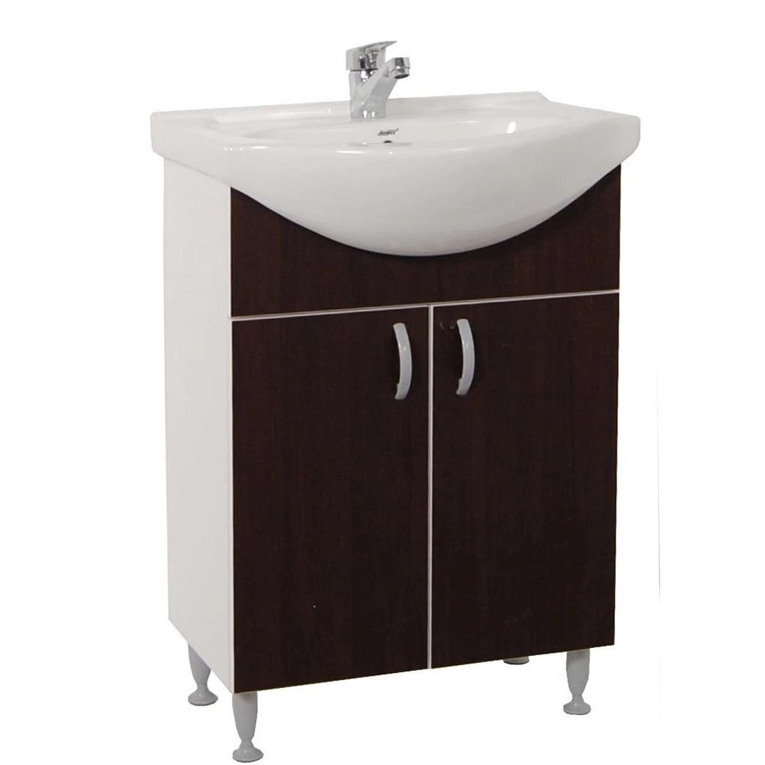 Fotografie Set baza mobilier + lavoar ceramic Badenmob Seria 001, 50x81x45 cm, Wenge
