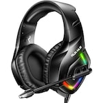 Casti gaming profesionale Runmus® K1-B RGB, cu microfon, sistem surround HD, microfon cu anulare zgomot de fond, cu lumina led, pentru PC, PS4, Xbox, Nitendo, difuzor 50mm, 106dB, albastru