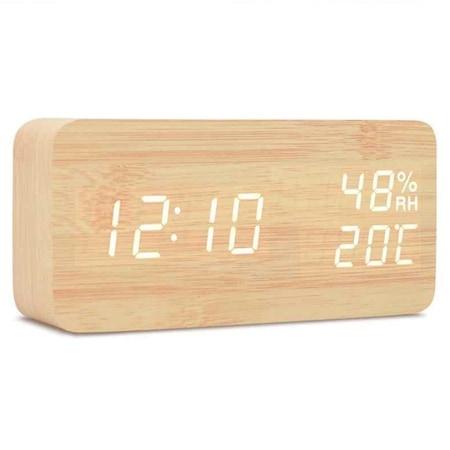 Fa hatású tapsra kapcsoló ébresztőóra hőmérséklet kijelzéssel világosbarna