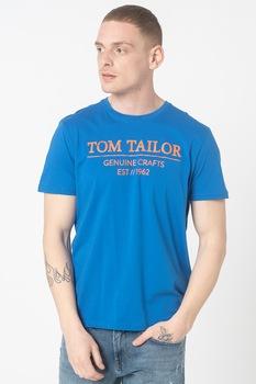 Tom Tailor, Kerek nyakú logós póló TT0AP102122900000000, Királykék/Fehér, S