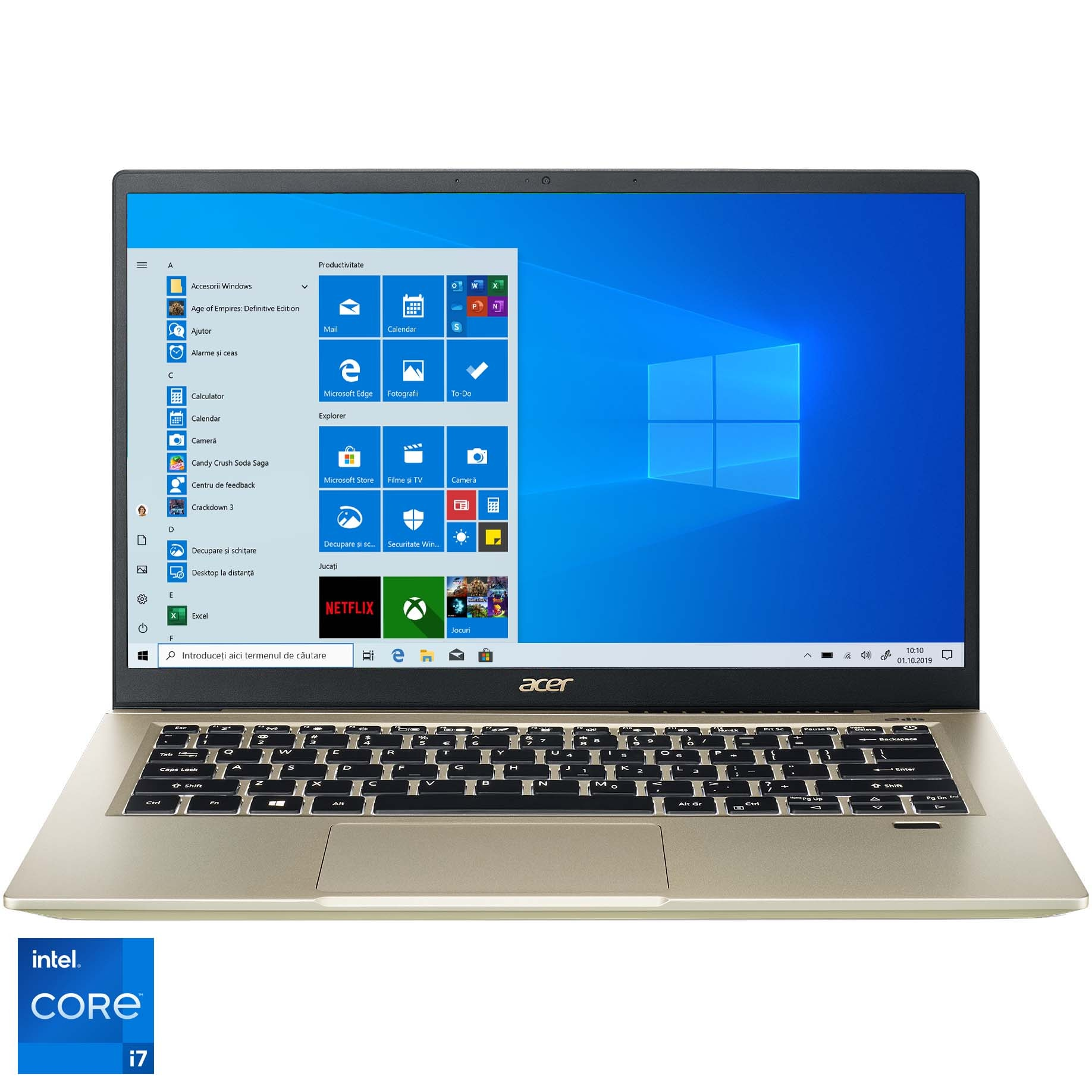 "Fotografie Laptop ultraportabil Acer Swift 3 SF314-510G cu procesor Intel® Core™ i7-1165G7 pana la 4.70 GHz, 14"", Full HD, 16GB, 1TB SSD, Intel® Iris® Xe Graphics, Windows 10 Pro, Safari Gold"