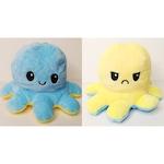 Плюшена играчка Octopus, Октопод, Сменящи се лица, Син с Жълт, 15 см