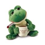 Плюшена играчка Russ Berrie Frog 34220, Жаба държи чаша, Зелен, 15 см