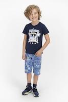 U.S. Polo Assn., Къса пижама с лого, Тъмносин / Светлосин / Бял, 164-170 CM Standard