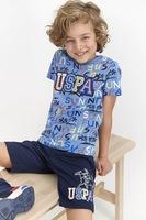 U.S. Polo Assn., Къса пижама с лого, Светлосин, тъмносин, жълт, 116-122 CM Standard