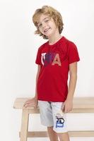 U.S. Polo Assn., Пижама с къси ръкави и лого, Червен, светлосив меланж, бял, 122-128 CM Standard