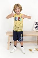 U.S. Polo Assn., Пижама от жарсе с десен, Сламеножълт, тъмносин, тюркоаз, 104-110 CM Standard