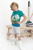 U.S. Polo Assn., Пижама с къси ръкави и десен, Тъмнозелен, светлосив меланж, бял, 164-170 CM Standard