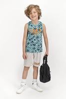 U.S. Polo Assn., Пижама с тропическа шарка и лого, Мента / светлосив меланж / тъмносин, 122-128 CM Standard