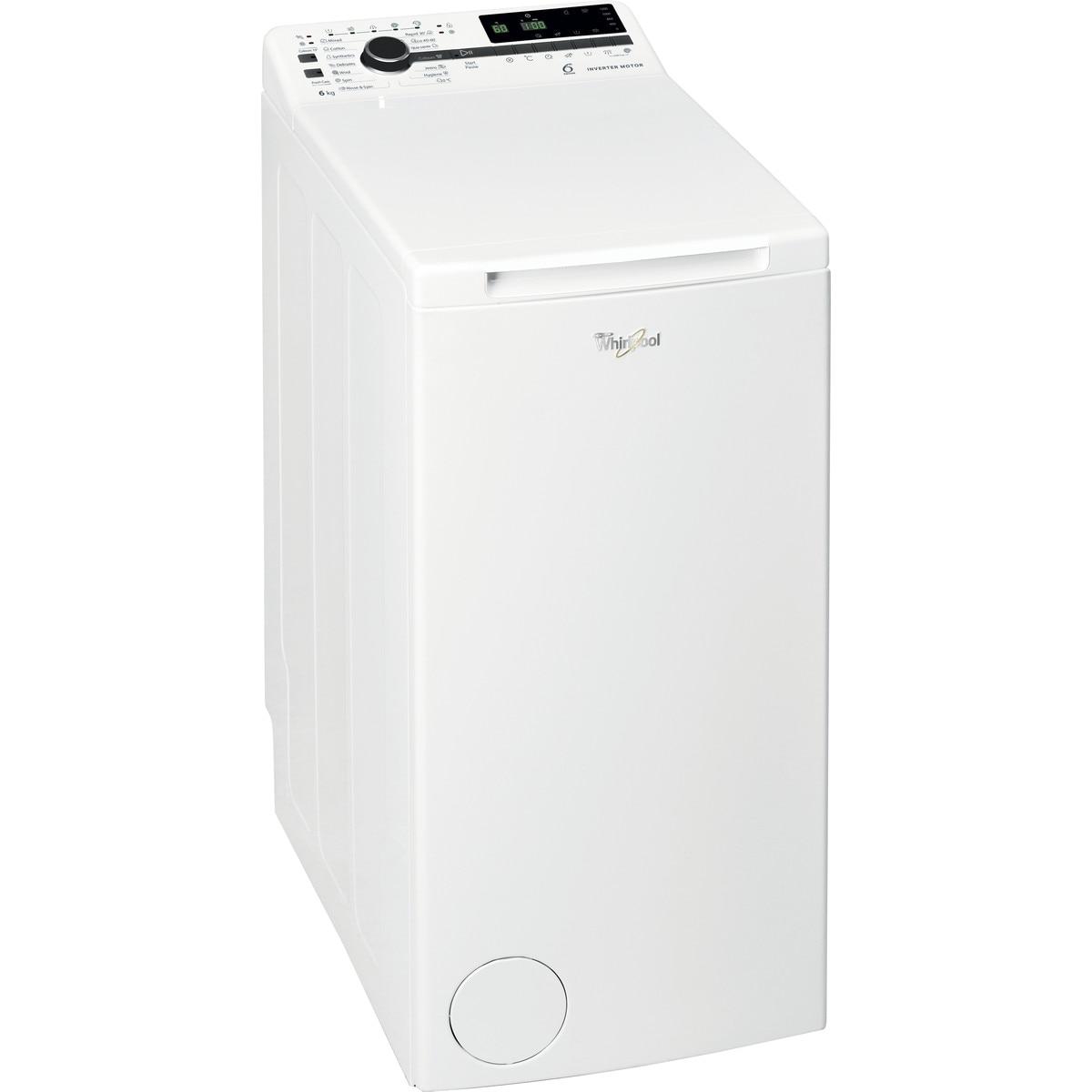 Fotografie Masina de spalat rufe cu incarcare verticala Whirlpool TDLRB6241BSEUN, 6 kg, 1200 rpm, Clasa C, Tehnologia al-6lea Simt, Motor Inverter, Display digital, Alb