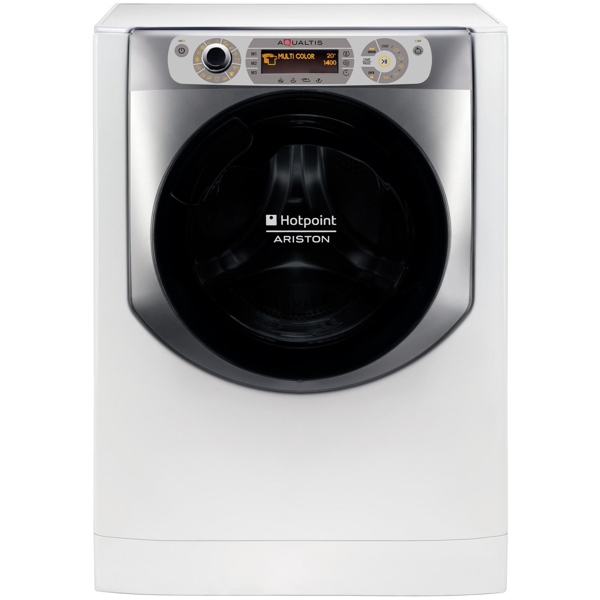 Fotografie Masina de spalat rufe Hotpoint AQ116D68SDEN, 11 kg, 1600 rpm, Clasa C, Recunoastere grad murdarie, Display LCD, Alb
