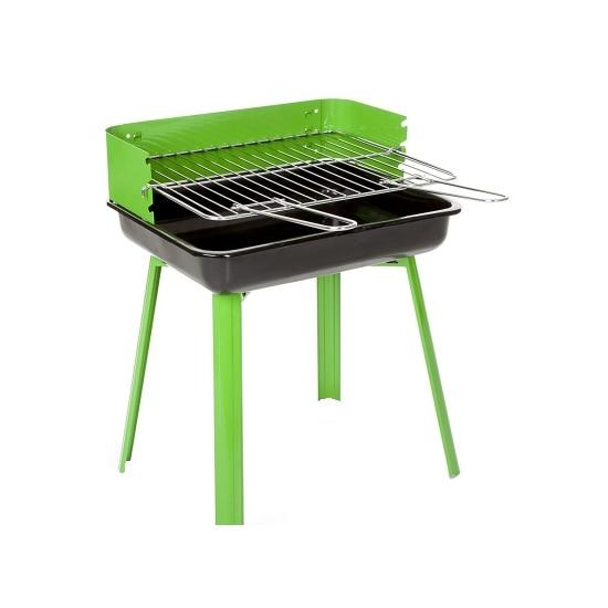 Fotografie Gratar carbuni Grillchef, 36x29x44 cm, suprafata de gatit 33x26 cm, cromat, verde