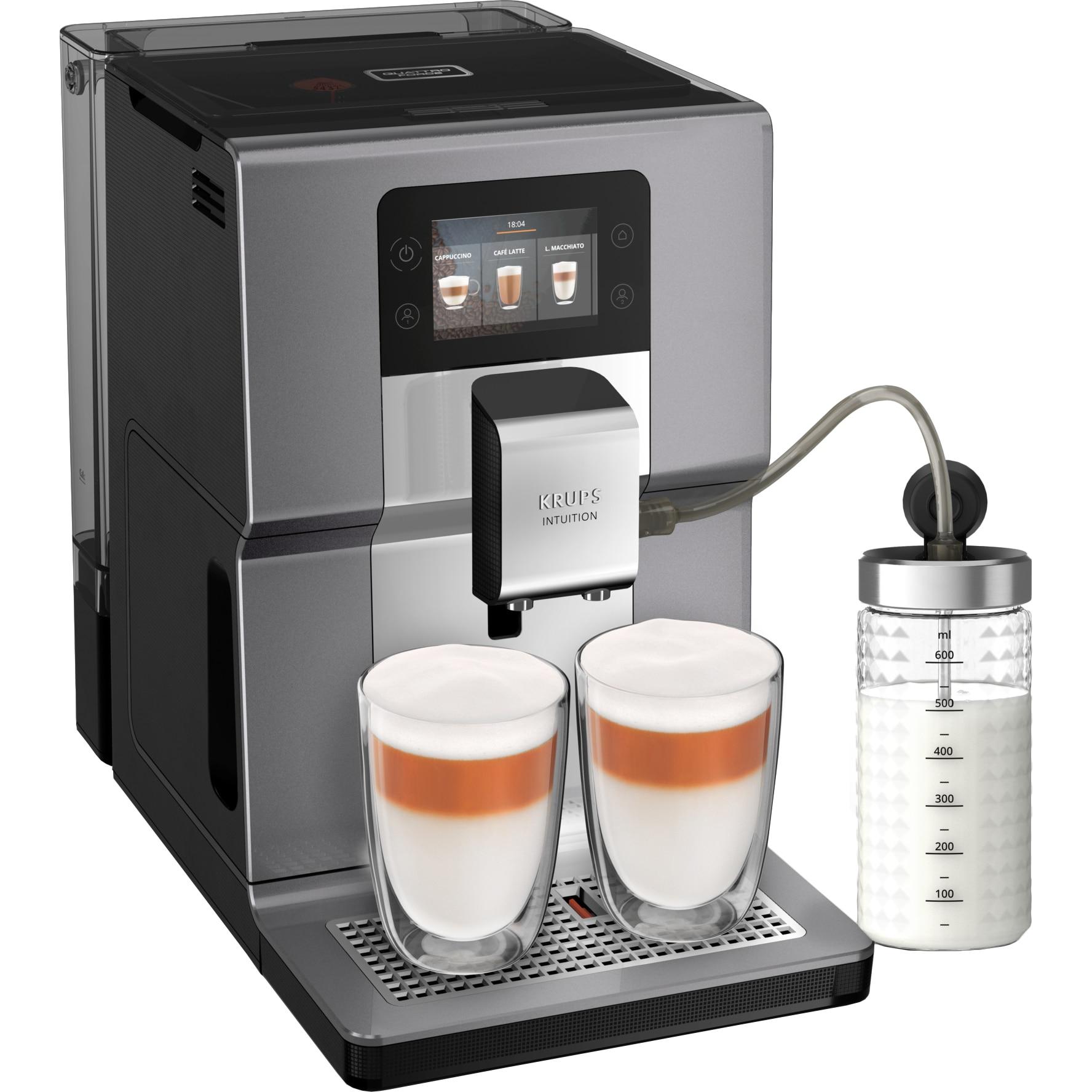 Fotografie Espressor automat Krups Intuition Preference+ EA875E10, Accesoriu pentru spumarea laptelui, 15 bauturi, Ecran tactil, Tehnologie Quattro Force, Retete favorite, 1450W, Argintiu