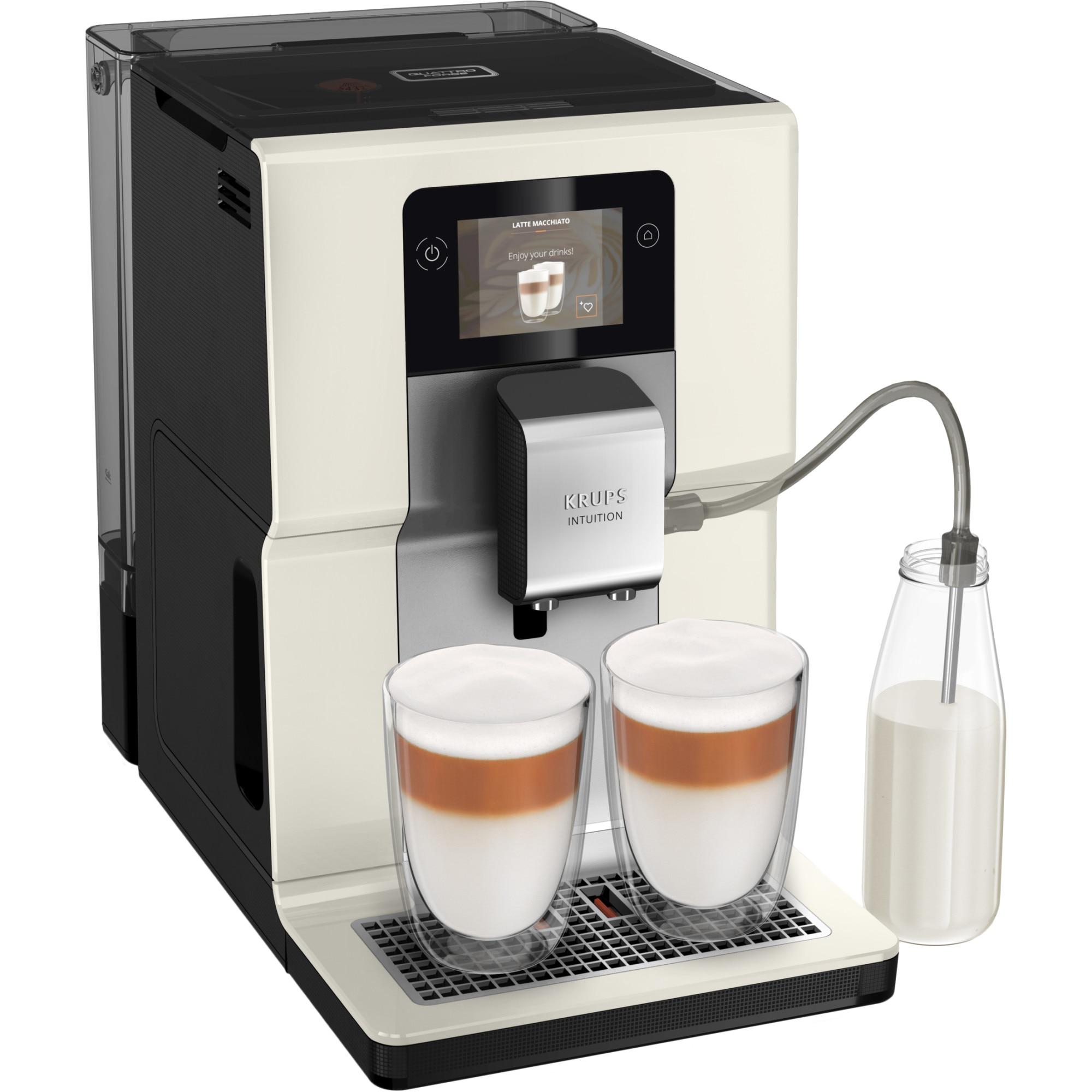 Fotografie Espressor automat Krups Intuition Preference EA872A10, Accesoriu pentru spumarea laptelui, 11 bauturi, Ecran tactil, Tehnologie Quattro Force, Retete favorite, 1450W, Alb Ivory