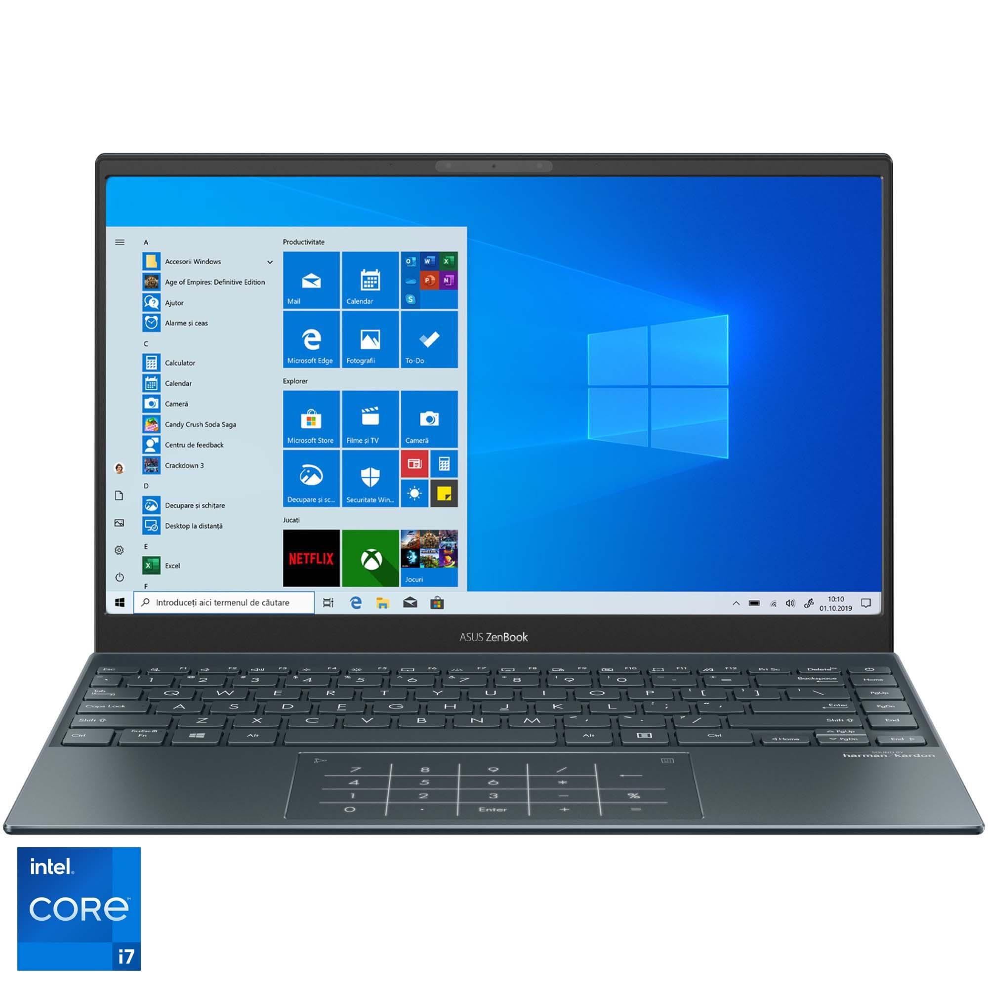 "Fotografie Laptop ultraportabil ASUS ZenBook 13 OLED UX325EA cu procesor Intel® Core™ i7-1165G7 pana la 4.70 GHz, 13.3"", Full HD, 16GB, 512GB SSD, Intel Iris Xᵉ Graphics, Windows 10 Home, Pine Grey"