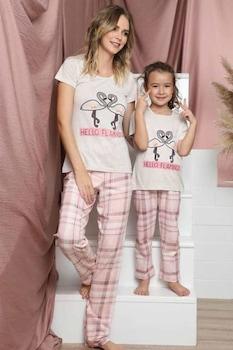 Női pamut pizsama,rövid ujjú,fehér-púderrózsa,flamingó mintás, kockás hosszú nadrág,L