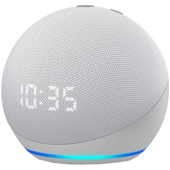 Fotografie Boxa inteligenta cu ceas Amazon Echo Dot 4, Control Voce Alexa, Wi-Fi, Bluetooth, Alb