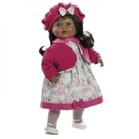 Naomi interaktív baba pattogatott kukoricás és rózsaszín baszk ruhában, 52 cm, Berbesa