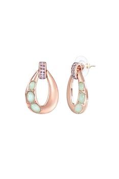 Highstreet Jewels, Висящи обеци с кристали, Златист, зелен, син
