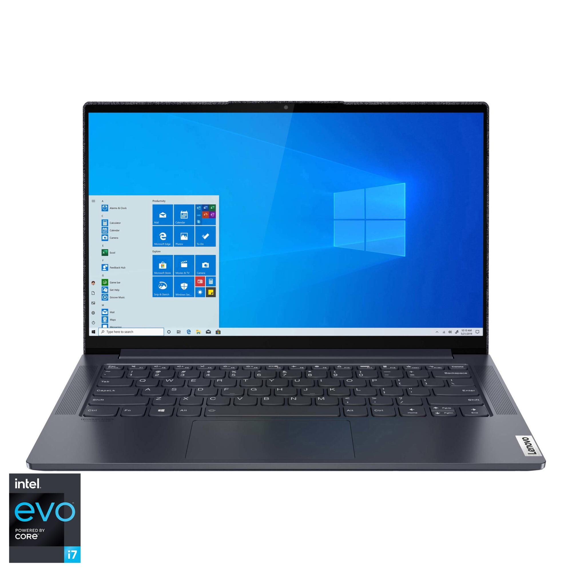 "Fotografie Laptop ultraportabil Lenovo Yoga Slim 7 14ITL05 cu procesor Intel Core i7-1165G7 pana la 4.70 GHz, 14"", Full HD, Touch, 16GB, 1TB SSD, Intel Iris Xe Graphics, Windows 10 Home, Slate Grey"