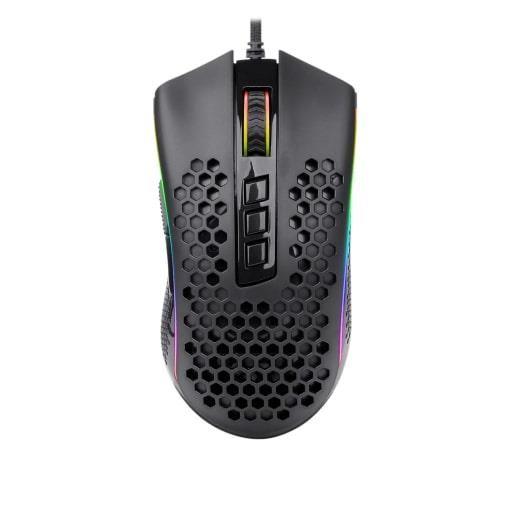 Fotografie Mouse gaming Redragon Storm Elite, structura Honeycomb, iluminare RGB, Negru