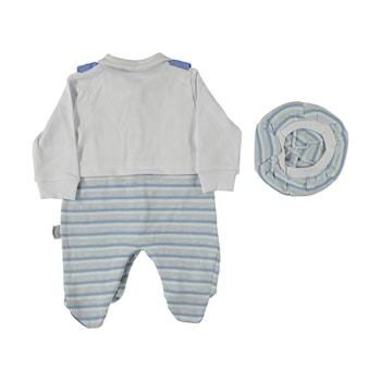 Бебешки гащеризон Teddy bear, Памук, 74 см, 9 месеца, За момчета, Бял/Син, Бял/Син