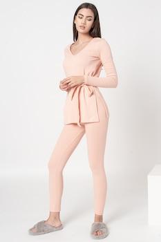 Missguided, Bordázott dzsörzéfelső és leggings szett, Rózsaszín