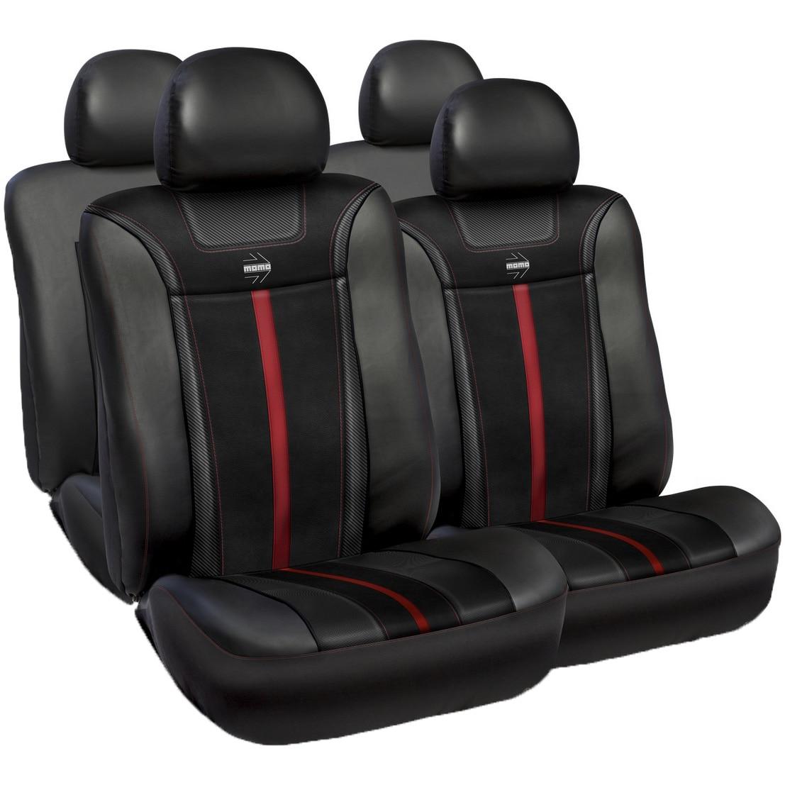 Fotografie Huse scaune auto Momo, piele ecologica cu ornamente tip carbon, negru cu rosu, set 11 buc