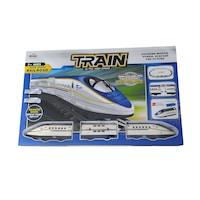 Vonat hanggal, fénnyel, elektromos, sínpályával