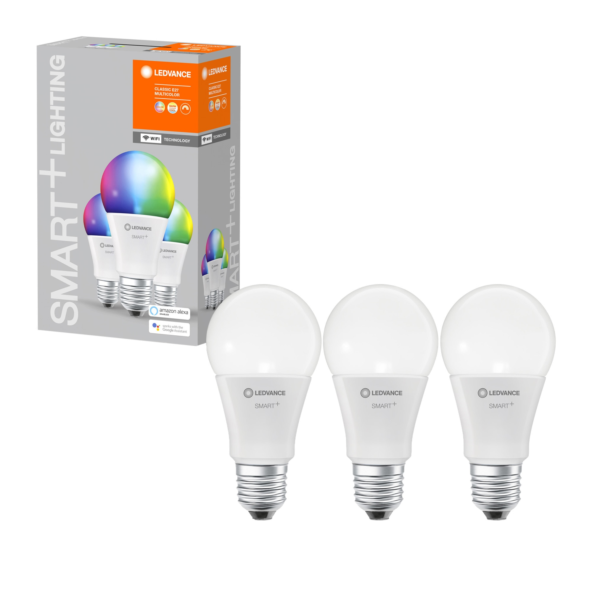 Fotografie Pachet 3 becuri inteligente LED RGBW LEDVANCE SMART WIFI, A60, E27, 9W (60W), 806 lm, dimabil, lumina alba si colorata, compatibil amazon alexa/Google Assistant
