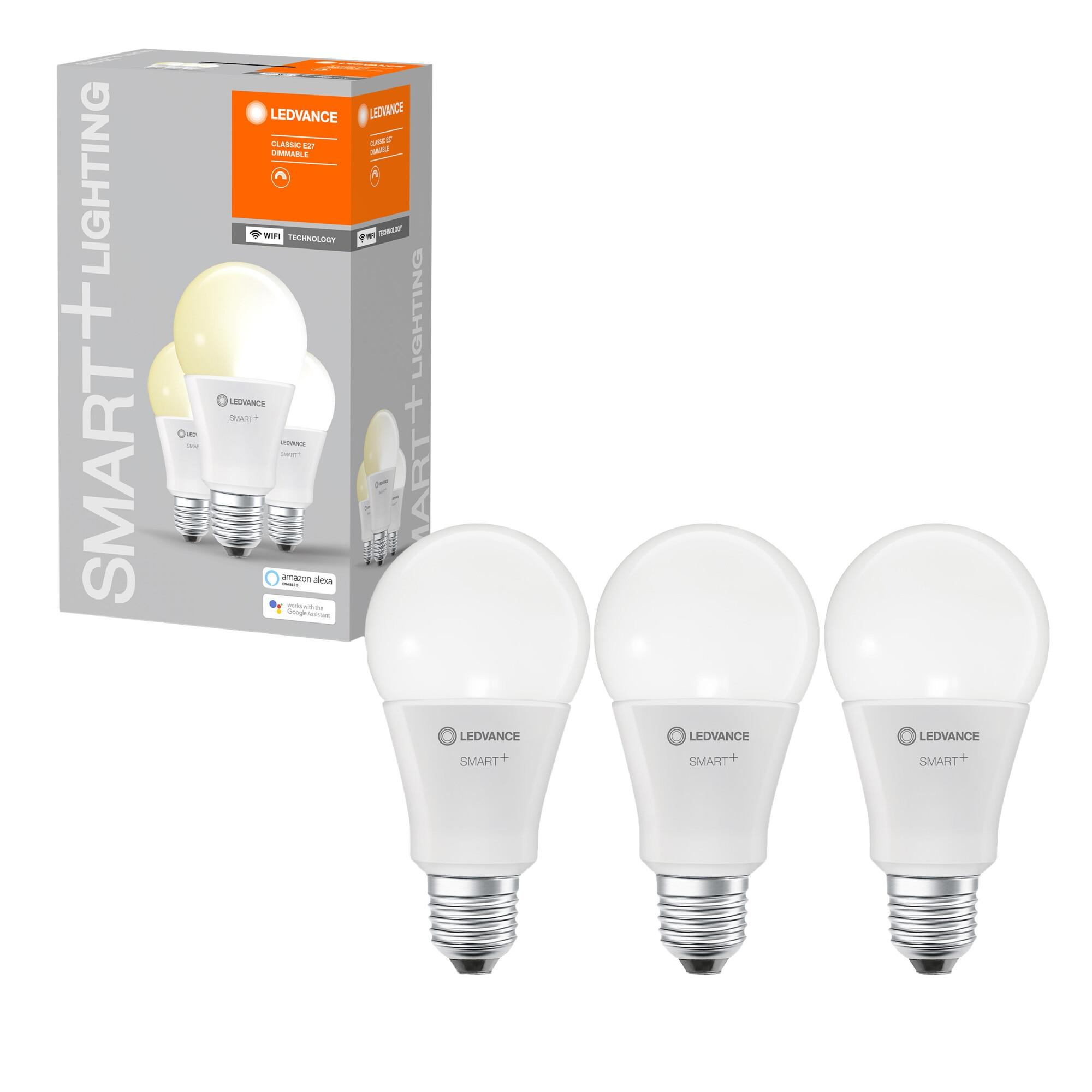 Fotografie Pachet 3 becuri inteligente LED LEDVANCE SMART WIFI, A100, 14W (100W), 1521 lm, dimabil, temperatura lumina calda (2700K), compatibil amazon alexa/Google Assistant