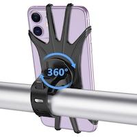 Универсална стойка за смартфон, За колело/Мотор, Силикон Черен