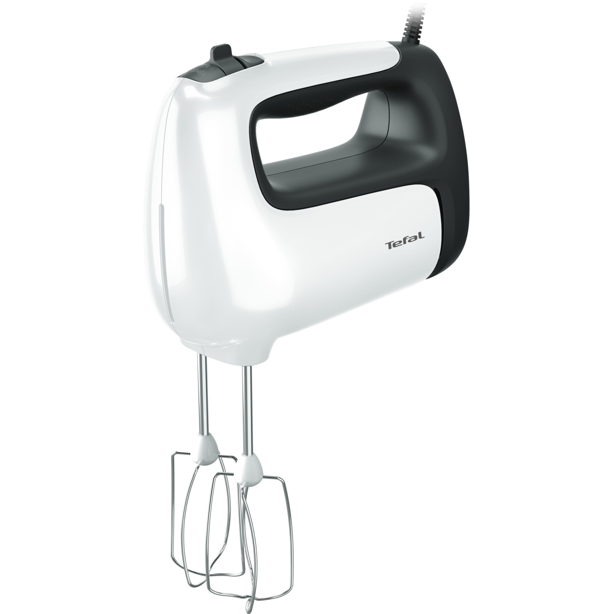 Fotografie Mixer de mana Tefal Prep'Mix HT461138, 500W, 5 viteze, Turbo, 2 accesorii pentru aluat, 2 teluri, picior pasator, alb