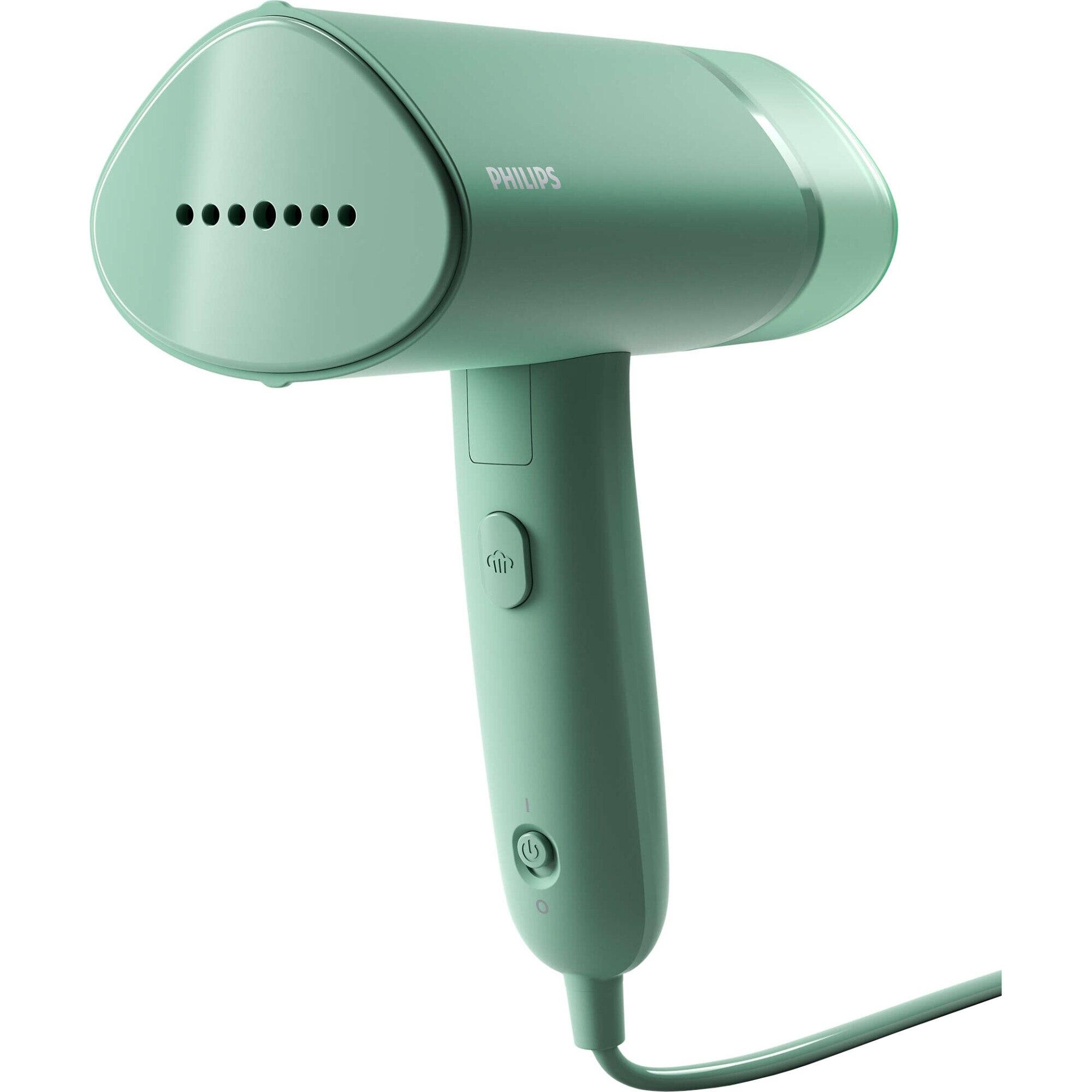 Fotografie Aparat de calcat vertical cu aburi Philips Seria 3000 STH3010/70, 1000 W, 20 g/min, compact si pliabil, rezervor detasabil 100 ml, husa, Turcoaz