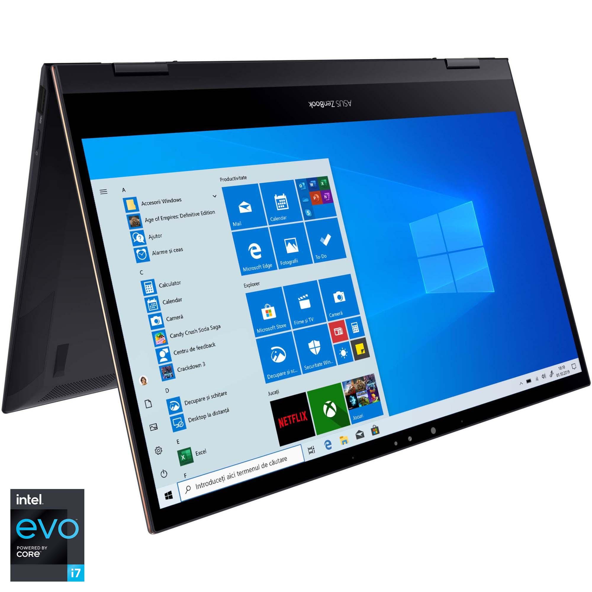 "Fotografie Laptop 2 in 1 ASUS ZenBook Flip S UX371EA cu procesor Intel® Core™ i7-1165G7 pana la 4.70 GHz, 13.3"", Full HD, 16GB, 1TB SSD, Intel® Iris Xe Graphics, Windows 10 Pro, Jade Black"