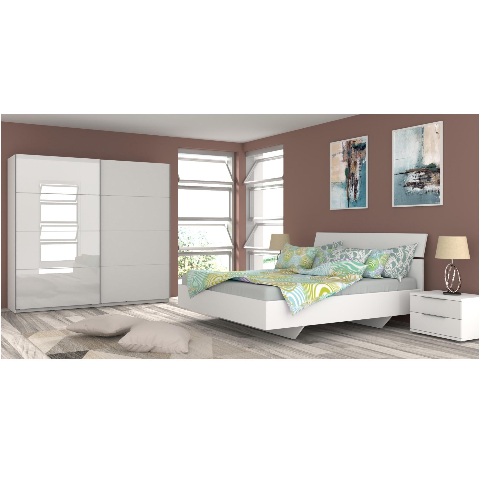 Fotografie Dormitor Kring Dallas, Pat 160x200 cm, Dulap usi glisante 215x60x210 cm, 2 Noptiere, Somiera