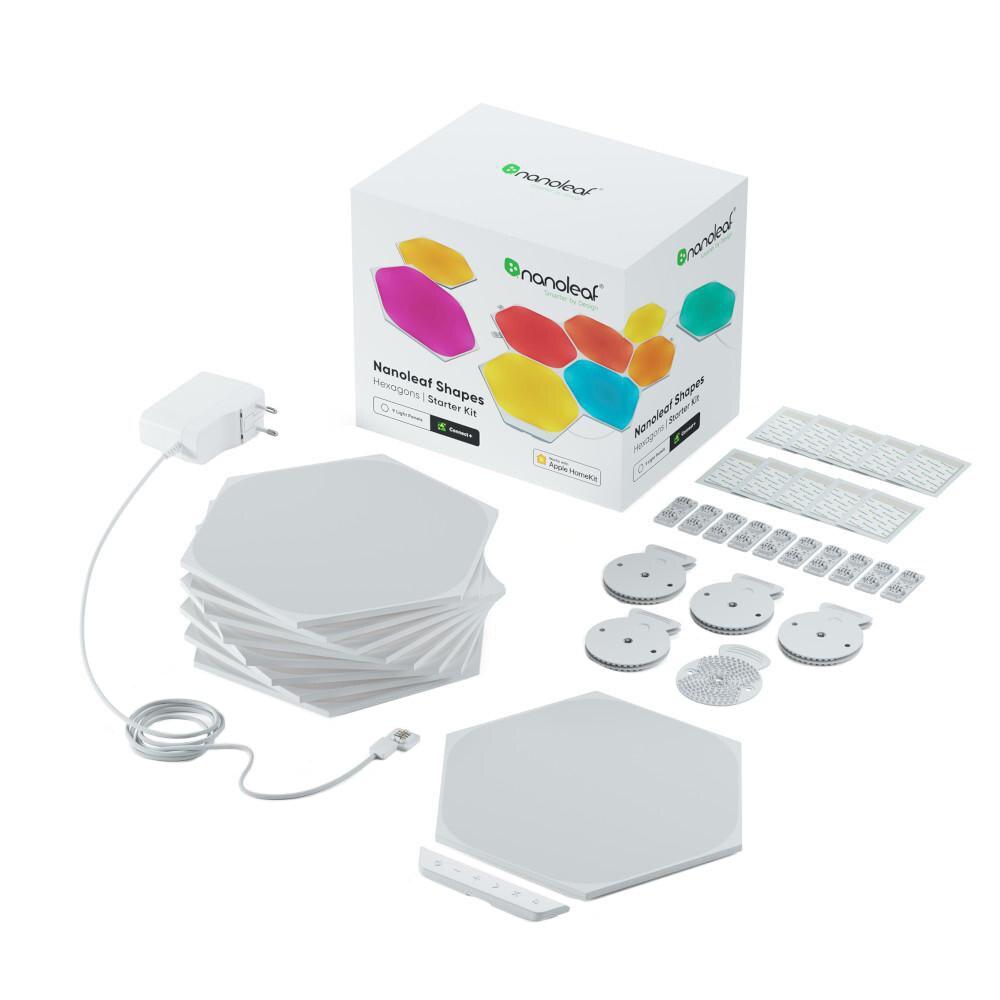 Fotografie Kit panouri luminoase modulare inteligente Nanoleaf Shapes Hexagons Starter Kit, LED RGBW, Wi-Fi, compatibil iOS/Android, 9 panouri