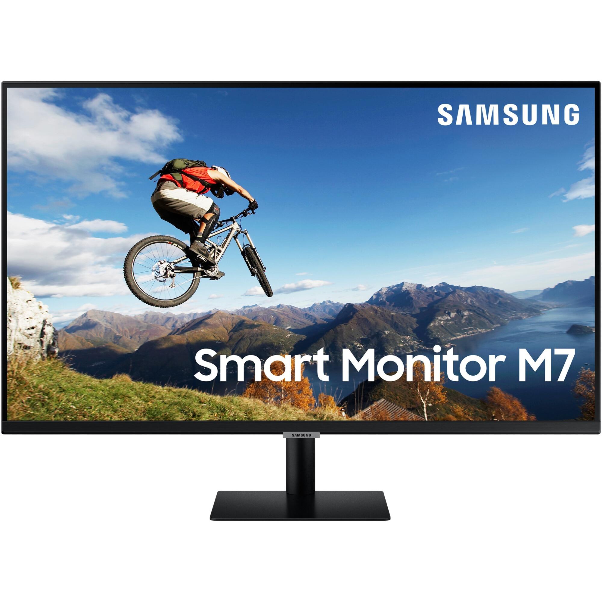 """Fotografie Monitor Smart LED VA Samsung 32"""", 4K UHD, HDMI, FreeSync, Vesa, Negru, LS32AM700URXEN"""
