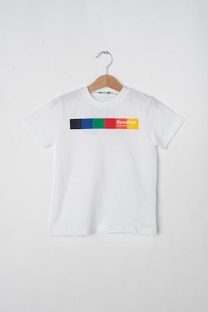 United Colors of Benetton, Kerek nyakú logós póló, Fehér/Fekete/Piros, 120 CM Standard