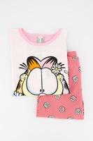 Undercolors of Benetton, Жарсена пижама с щампа Garfield, РозовБял/Оранжев, 10-11Y Standard