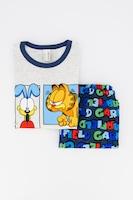 Undercolors of Benetton, Пижама с къси ръкави и щампа на Garfield, Светлосив меланж / син / червен, 18-24M Standard