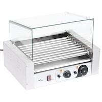 vidaXL 9 hengeres hot dog virslisütő gép üvegfedéllel 1800 W