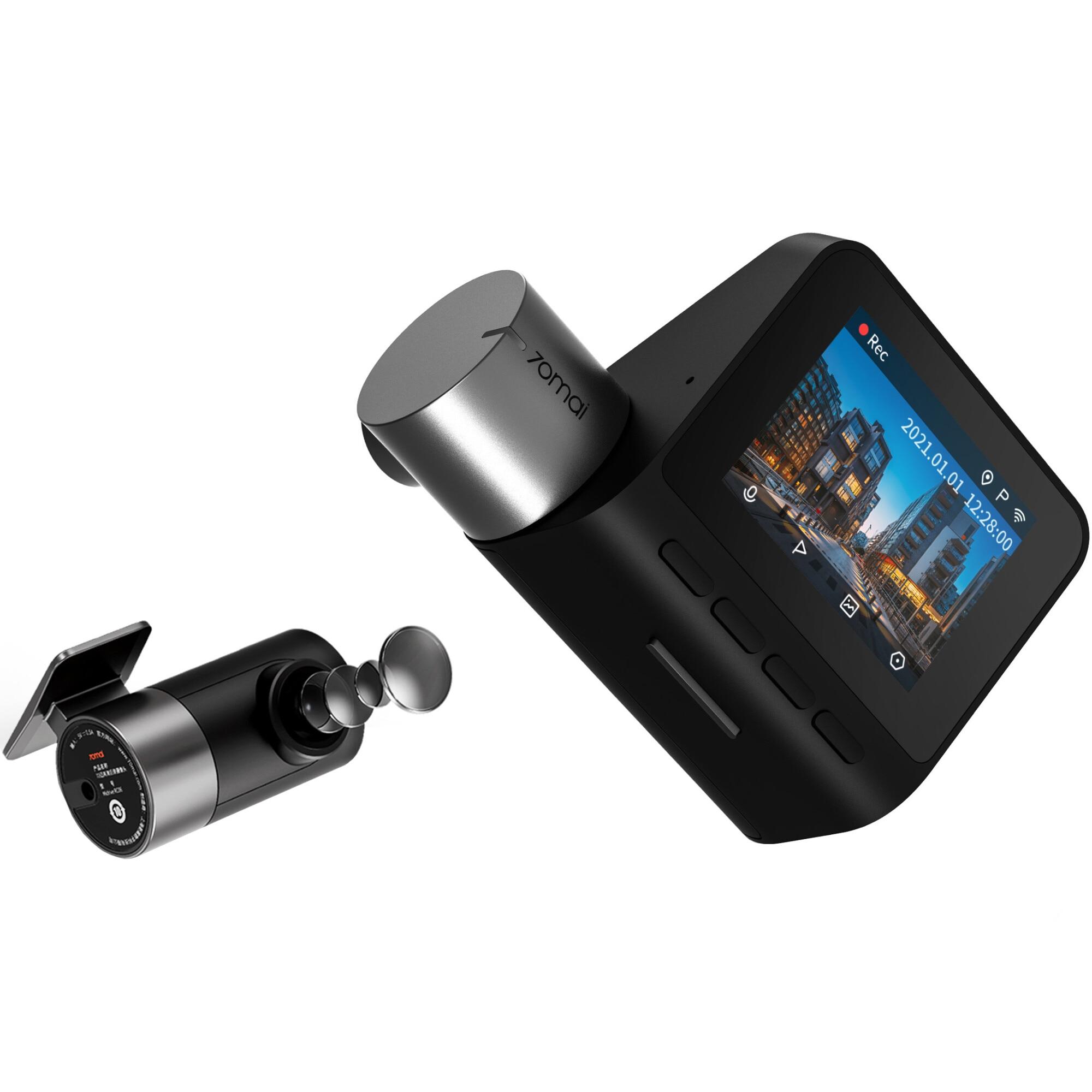 "Fotografie Camera auto DVR Xiaomi 70mai A500S Dash Cam Pro Plus 2.7K 1944p, IPS 2.0"", 140 FOV, ADAS, GPS, Night Vision, Wi-Fi + camera spate Xiaomi 70mai RC06 full HD la 30 fps, unghi vizualizare 130°"