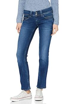 Дамски дънки Pepe Jeans, Ниска талия, Памучни, Син, Син, W27-L32