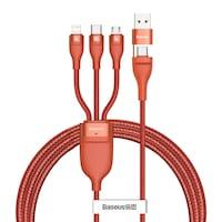 Baseus 3in1 USB/Type-C + Lightning + Micro USB kábel, 100W, 5A, 1,2m, QC, PD - CA2T3-07, Narancs